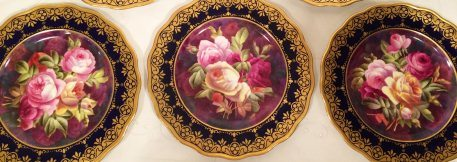 Set of 12 Museum Quality Cauldon rose plates signed Harrison