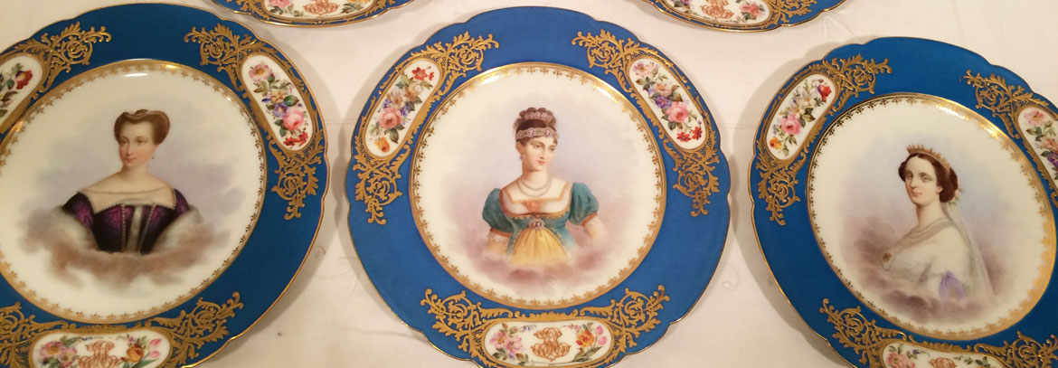 Set of 12 Sevres portrait plates