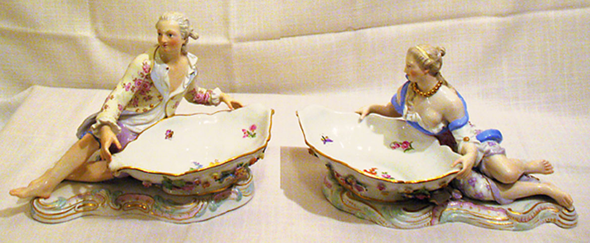 Pair of Meissen figural sweetmeat bowls-late 19th century